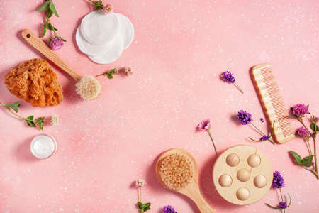 zero waste eco friendly bath and body care products and wild flowers. natural cosmetics for home spa treatment