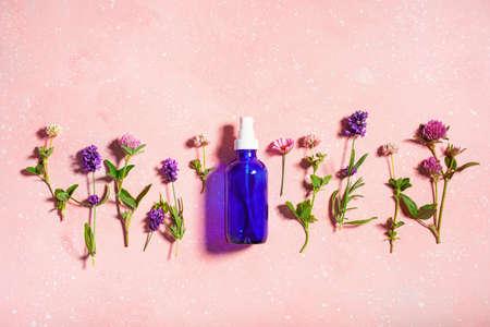 essential oils, summer wild medical flowers and herbs. alternative medicine