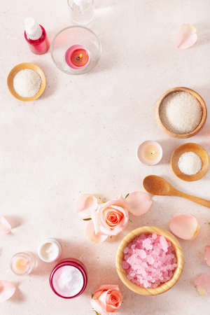 skincare products and rose flowers. natural cosmetics for home spa treatment Standard-Bild