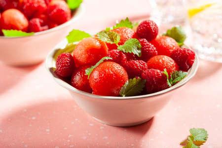 watermelon ball salad with raspberry lemon balm. healthy summer dessert