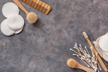 zero waste eco friendly hygiene bathroom concept. wooden toothbrush reusable pads brush Stock fotó