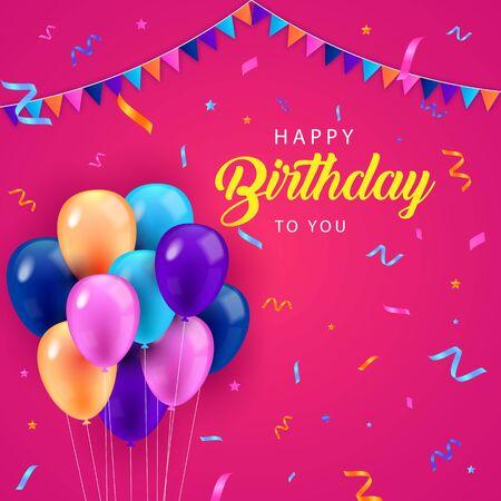 Happy Birthday Balloon Background Design Vector
