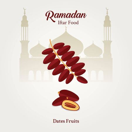 Ramadan iftar food dates fruits with isolated on white background
