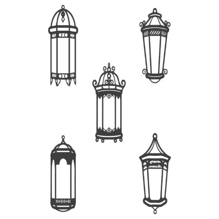 Vector vintage lantern set isolated on white. Classic antique light. Old graphic object design 02 向量圖像