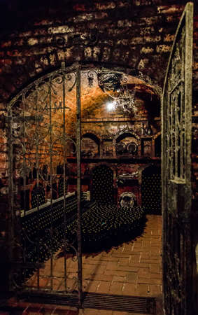 Wine bottles in a Hungarian wine cellar near