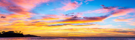 Colorful tropical sunset on the Pacific Ocean in Costa Rica
