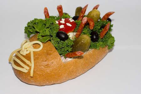 decorated bread as a shoe