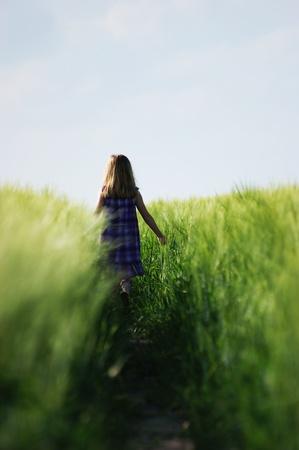 alone girl: Lost girl in field