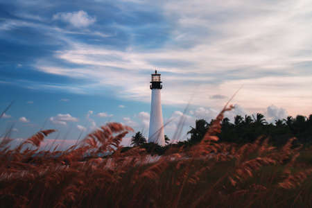 key biscayne: Lighthouse in Key Biscayne, Miami, Florida, USA
