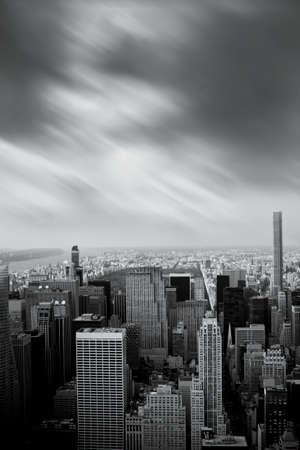 Black and white Manhattan view, New York, USA
