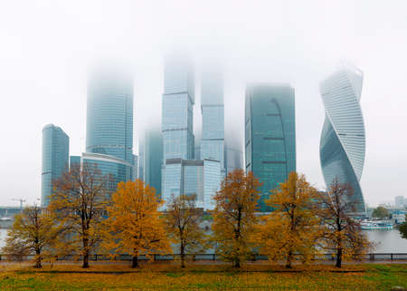 Moscow City International Business Center in Russia at autumn