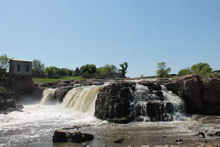 sioux: View of the Falls of Sioux Falls South Dakota Stock Photo
