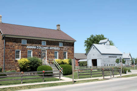Amana Colonies Iowa, May 21, 2012: View of historical buildings in the Amana Colonies of Iowa Editorial