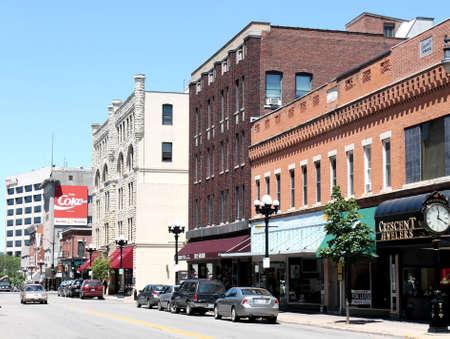 wisconsin: La Crosse, Wisconsin, June 25, 2012: View of downtown La Crosse Wisconsin shopping district Editorial