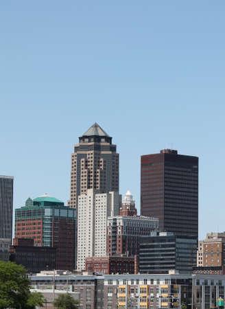 des: Skyline of downtown Des Moines Iowa Stock Photo