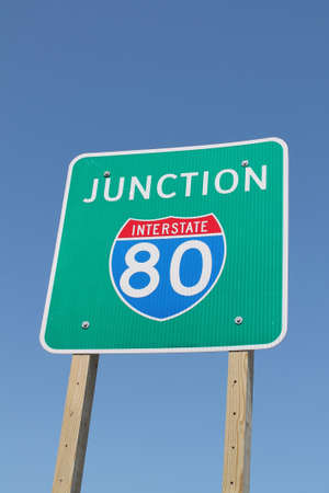 interstate 80: Interstate 80 Junction Sign Stock Photo