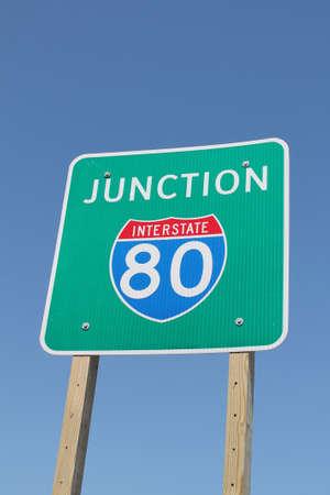 Interstate 80 Junction Sign 版權商用圖片