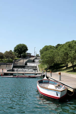 omaha: Boats docked in downtown Omaha, Nebraska lake