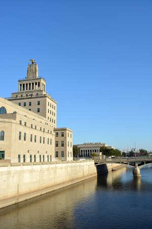 iowa: View of downtown Cedar Rapids, Iowa Stock Photo