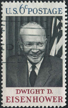 usps: United States of America-Circa 1969  A stamp honoring former President Dwight D Eisenhower   Editorial