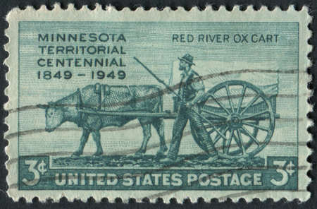 mn: United States of America-Circa 1949  stamp commemorating the centennial of the Minnesota Territory depicting a Red River Ox Cart   Editorial