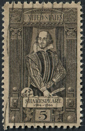 usps: United States of America-Circa 1964  A stamp commemorating the 400th birthday of William Shakespeare