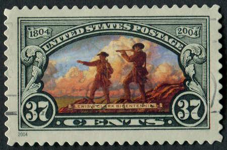 usps: United States of America-Circa 2004  A stamp commemorating the 200th anniversary of the Lewis and Clark Expedition   Editorial