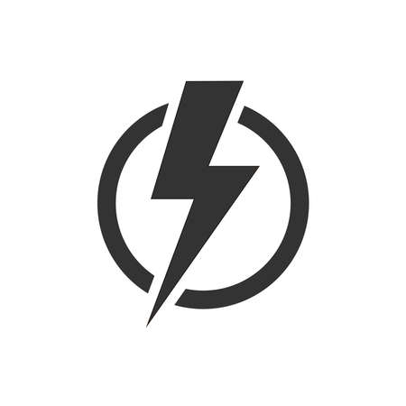 Lightning bolt in the circle graphic icon. Energy sign isolated on white background. Electric power symbol. Lightning bolt icon. Vettoriali