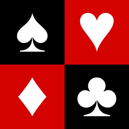 Set of playing card icon on white background. flat style. card suit icon Ilustração