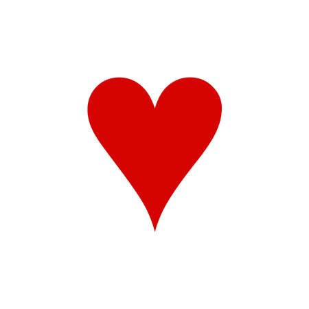 Heart Icon of playing card icon on white background. flat style. Heart icon