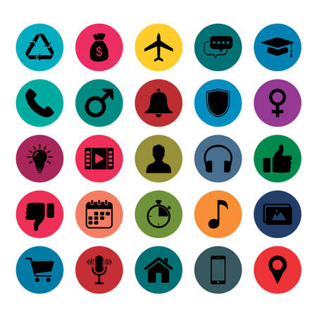 Icon Pack. 25 Icon For Mobile App. Set Of Icon Mobile And Web App. Finance Icon, Bussines Icon, Mobile App Icon, Web Icon, Education app Icon. random icon set. Vecteurs