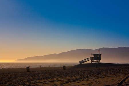 shack: Beach Lifeguard Shack Silhouette Stock Photo