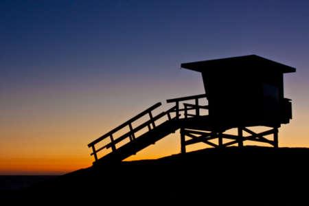 shack: Lifeguard Shack Silhouette Stock Photo