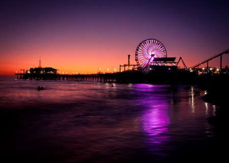Santa Monica Pier Sunset Stock Photo