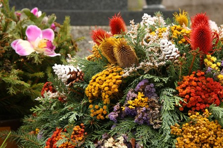 cemetry: funeral flowers Stock Photo
