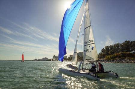 pinellas: Catamaran sailing in Clearwater harbor, Florida