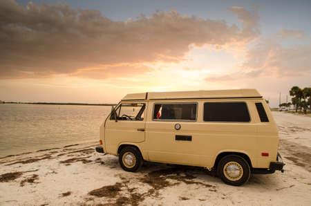 pinellas: Vanagon at Dunden causeway sunset. Editorial