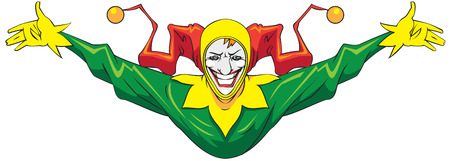 Laughing joker in a green suit.