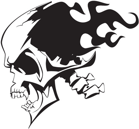 Flaming skull on white background