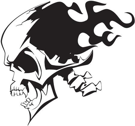 Flaming skull on white background Stock Vector - 6187718