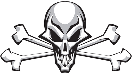 Skull with bones on white bacgrund Stock Vector - 6187720