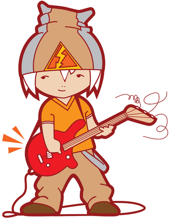Guy with a guitar in hands. Vector