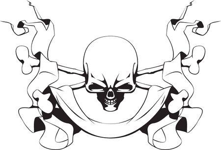 skull and crossed bones: Cr�neo, huesos cruzados y cinta
