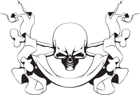 Skull, crossed bones and ribbon Illustration