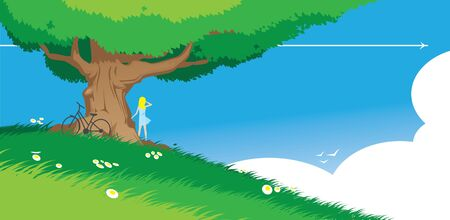 Woman under a tree on blue sky background Illustration