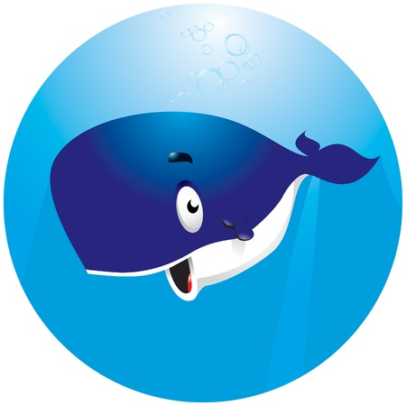 Smiley cartoon?? whale under water Illustration