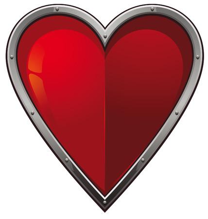Red heart in a steel frame Illustration
