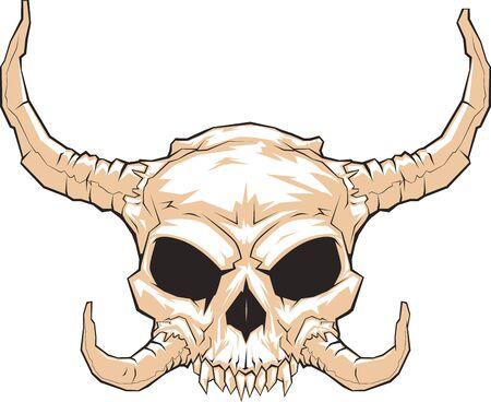 Frightening horned skull Illustration