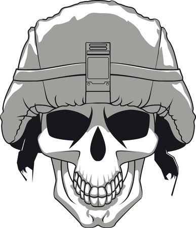 Skull in military helmet