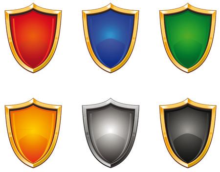Shiny shields of different colors set Illustration
